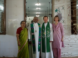 Dean Mann, his wife Helen with the Pastor of the Church of the good Shepherd, Chennai and his wife.