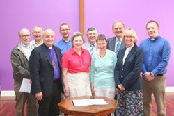 Back from left: Rev Des Bains, Gen Sec, Home Missions, Methodist Church; Tom Wilson, Lay Treasurer, Home Mission Fund; Rev John Alderdice, Prof Alan Hibbert, Rev Donald Ker, Rev Barry Forde. Front, from left: Bishop of Connor, Flo Ferguson, Church of Ireland Domestic Bursar; Maura Pringle, Church of Ireland Exec Committee, Rev Heather Morris.