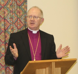 Archbishop Clarke speaks at the library opening.