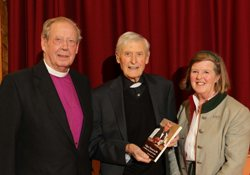 Canon Edgar Turner with Bishop Dr Samuel Poyntz and Lady Sheil at the launch.