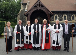 Rev Jason Kernohan and clergy prior to the service of institution.