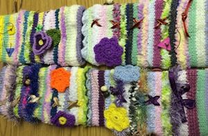 Twiddle mitts which help ease anxiety for dementia patients.