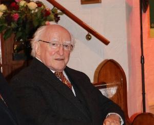 Irish President Michael D Higgins in St John's Parish Church, Donegore, on October 27.