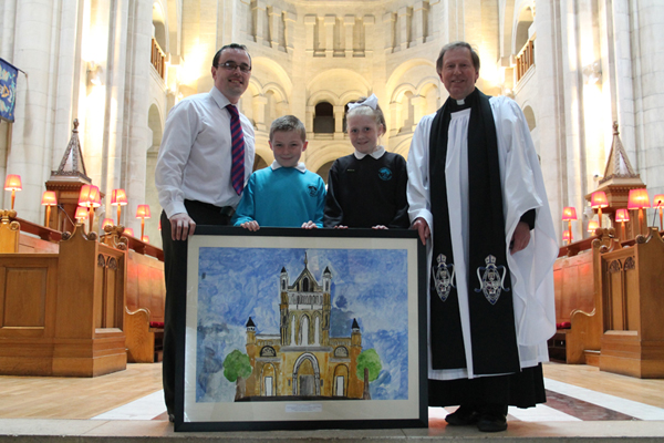 School gifts painting to St Anne's Cathedral