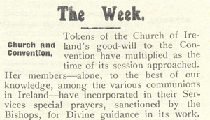 'Good Wishes for the Great Adventure' : The Church of Ireland & the Irish Convention, 1917