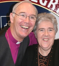 Bishop Harper gives his secretary Mrs Rosemary Patterson a farewell hug.