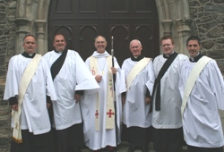 At the service of ordination are, from left: Kenneth Gamble, John McClure; Archbishop Alan Harper; Cambpell Dixon; Barry Forde and Mark Reid.