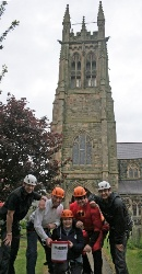 Getting ready for the fundraising abseil down the belltower at St Patrick's.