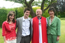 The new Bishop of Connor, the Rt Rev Alan Abernethy, flanked by his wife Liz, son Peter and daughter Ruth.