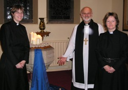 Rev Ray Simpson with Rev Grace Clunie (right) rector of St Nicholas, and Rev Jennifer Bell, curate.