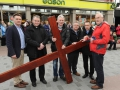Lisburn City Centre Ministers pictured prior to the 'Good Friday carrying of the cross walk of witness' in Lisburn. L to R: Rev John Brackenridge (First Lisburn), Fr Eddie McGee (Assistant Priest at St Patrick's), Canon Sam Wright (Lisburn Cathedral), Rev Mervyn Ewing (Seymour Street Methodist), Rev Paul Dundas (Christ Church) and Pastor George Hilary (Lisburn Christian Fellowship).