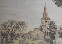 Painting of St Patrick's, Cairncastle, by local artist Rosalind Fair.