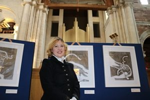 Artist Eve Parnell at the launch of her Souls of the Slain art exhibition in St Anne's Cathedral.