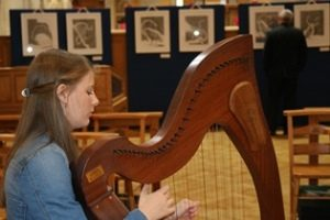 Zoe McGarry, 16, played the Irish Harp at the Eve Parnell exhibition launch.