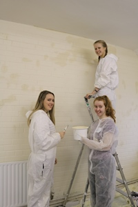The students enjoy getting stuck into painting in the Moore Room.
