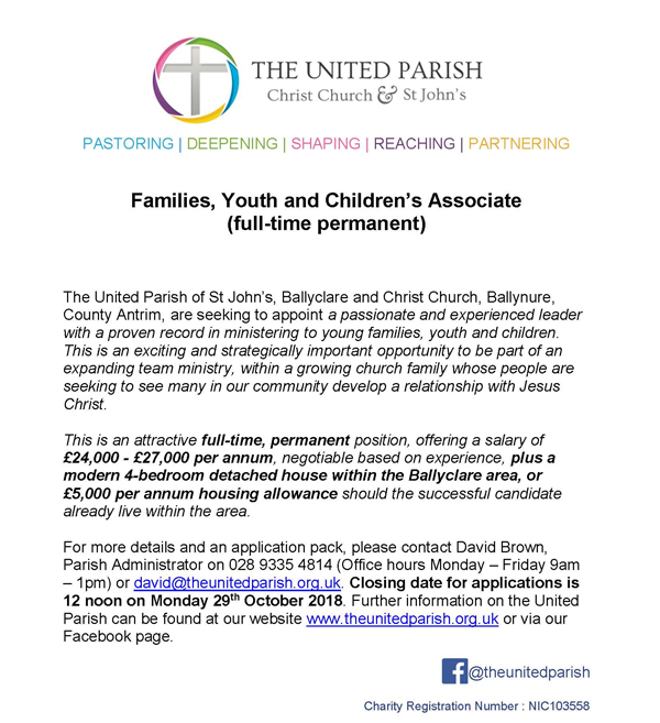 Families Youth and Childrens Associate Job Advert v2  - The Church of  Ireland Diocese of Connor
