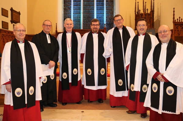 Members of the Chapter of St Saviour, Lisburn Cathedral who were present for the installation of their newest Canon, the Rev Mark Taylor. From left: The Rev Canon Peter Galbraith, the Rev Canon William Taggart, the Dean of Connor, the Very Rev Sam Wright (rector of Lisburn Cathedral), the Rev Canon Mark McConnell, the Rev Canon James Carson, the Ven Paul Dundas and the Rev Canon Derek Kerr.