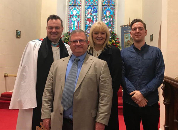 The Rev Dr Andrew Campbell, rector of Broughshane, with Campbell Hamilton, Dee Nixon and Rich McDade from Hope4Life at the parish's first Mental Health Sunday service in November 2019.