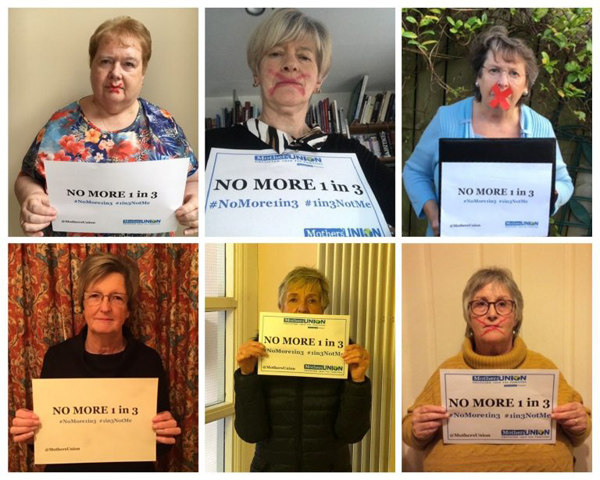 Members of Connor Diocesan Trustees and Executive show their support for the No More 1 in 3 campaign.