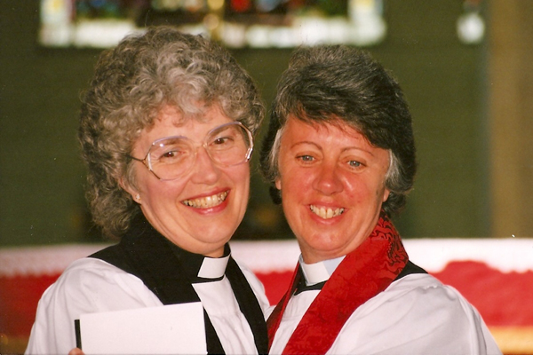 The Rev Kathleen Young (later Brown) and the Rev Irene Templeton on the occasion of their ordination as priests in St Anne's Cathedral, Belfast, on June 24 1990.