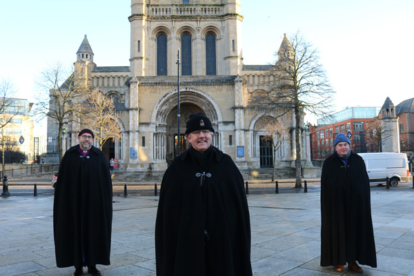 Dean Stephen Forde, centre, with Bishop George Davison, left, and Bishop David McClay on day one of the 2020 Black Santa Sit-out.