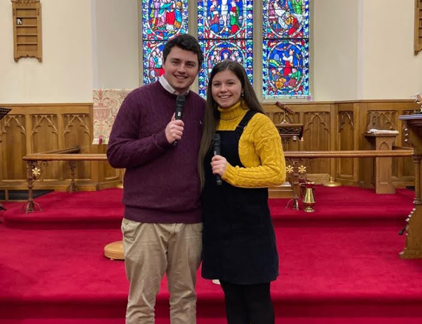 Bello Duo sing at Morning Service in All Saints', Antrim