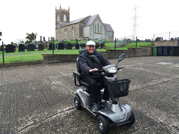 Oliver gives his new wheels a test run!