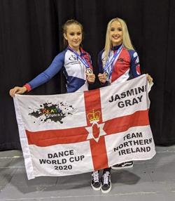 Jasmine and her dance partner Magan - together they picked up a silver medal in the Commercial Duet category at the Dance World Cup.