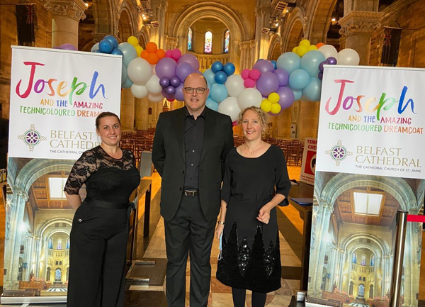 Belfast Cathedral Music Summer School organisers India Chapman Webb, Alison Darragh, and Matthew Owens, the Cathedral's Director of Music.